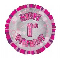 "Glitz 18"" Circle Balloon Pink - Happy 1st Birthday"